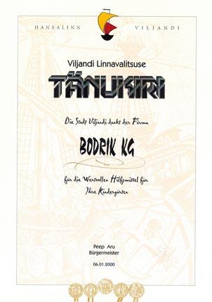 Urkunde der Stadt Viljandi